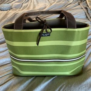 Vintage Kate Spade green Mullen Stripe tote bag!